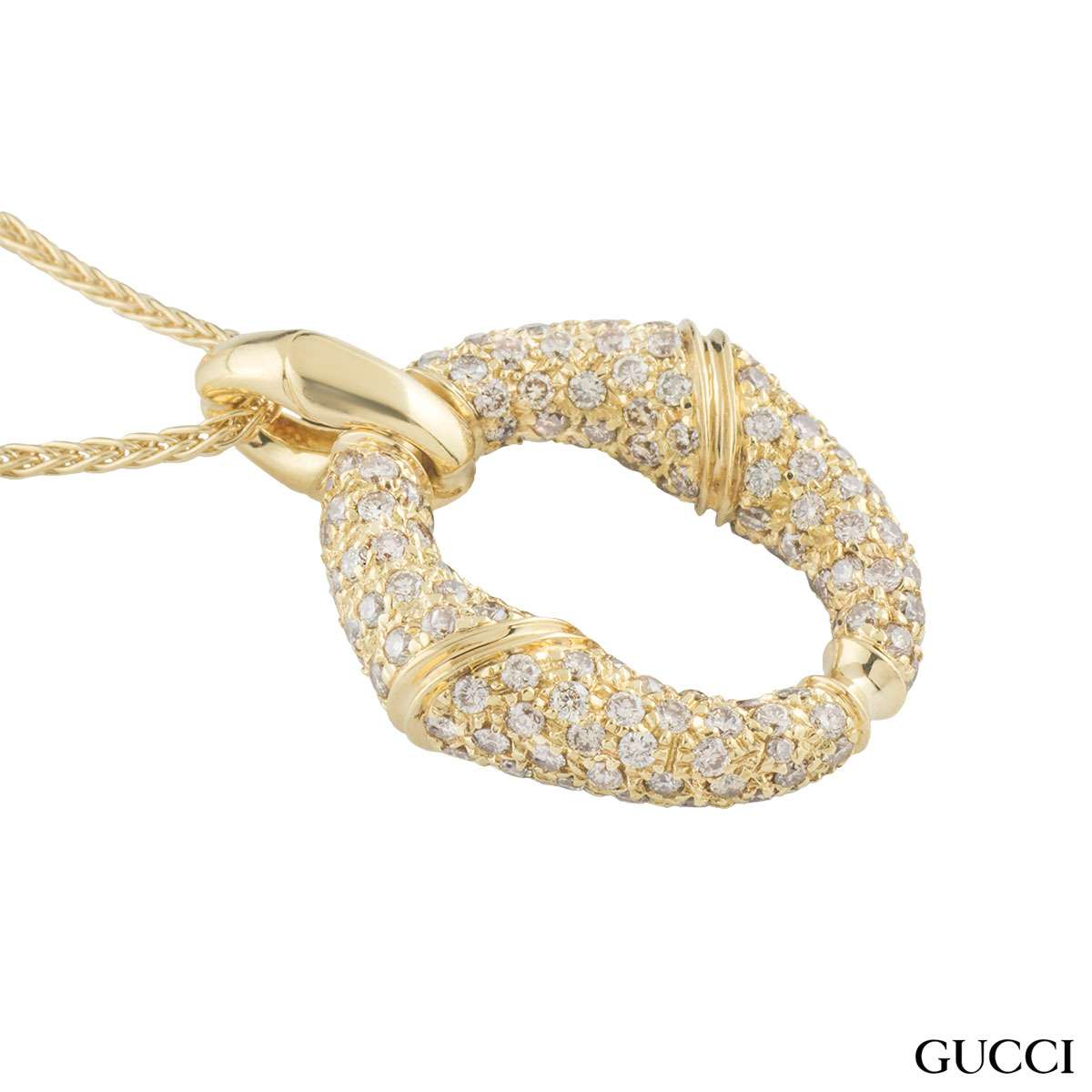 Gucci Yellow Gold Diamond Bamboo Pendant